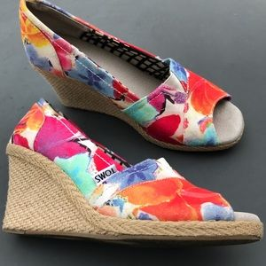 Toms Wedge Sandals Open Toe Womens Size 8